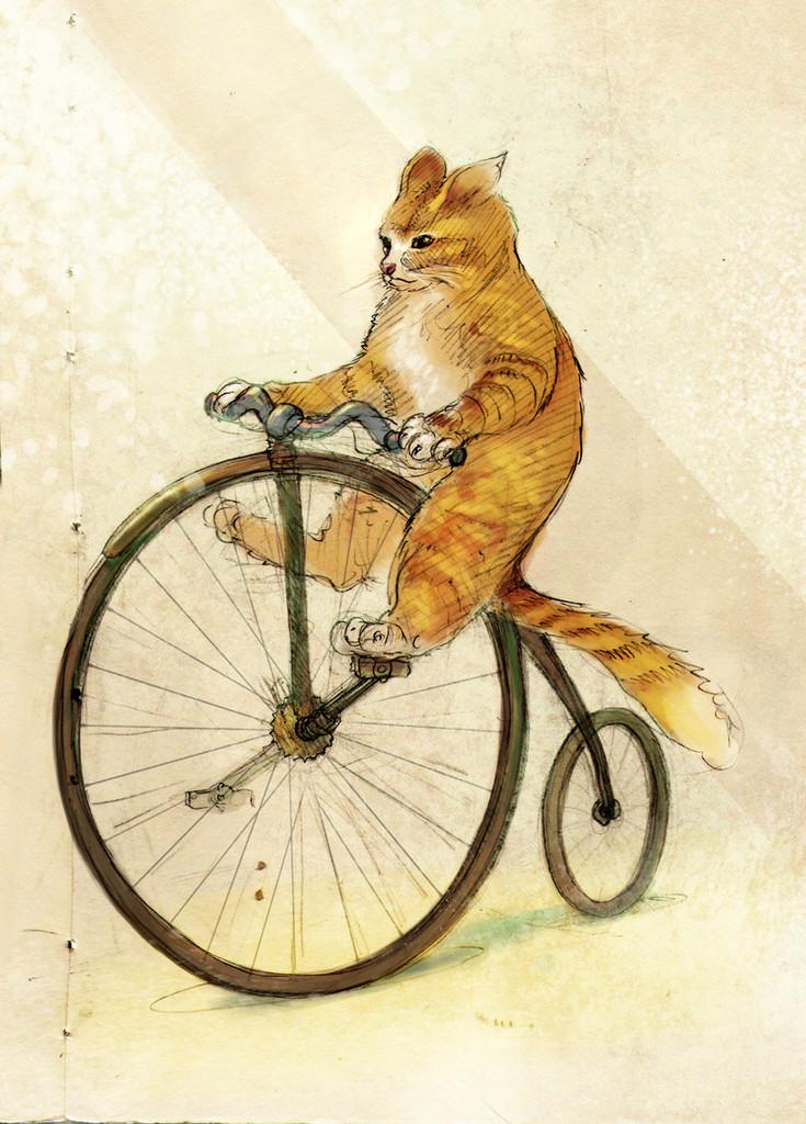 Поздравление для, смешной рисунок велосипеда